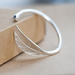 Open Leaf Cuff Bangle Bracelet