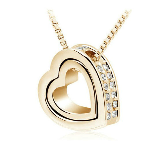 Rhinestone double Heart Pendant Necklace - 14 Colors