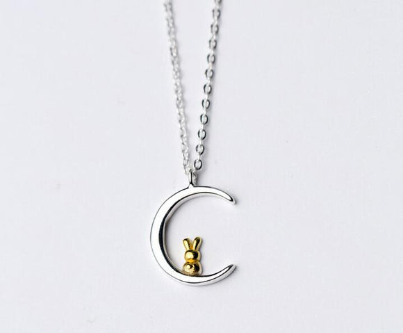 Golden Bunny In The Moon Sterling Silver Pendant Necklace