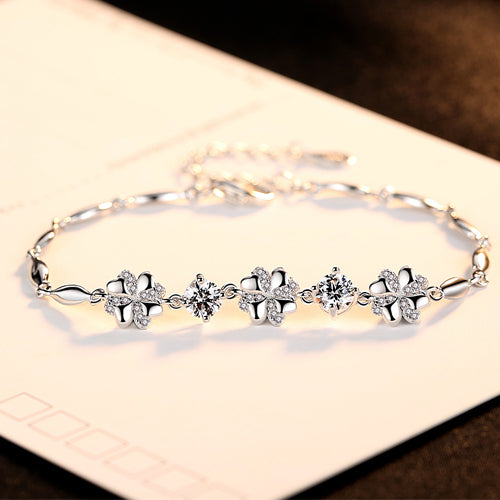 Genuine Sterling Silver Floral & Diamond Bracelet