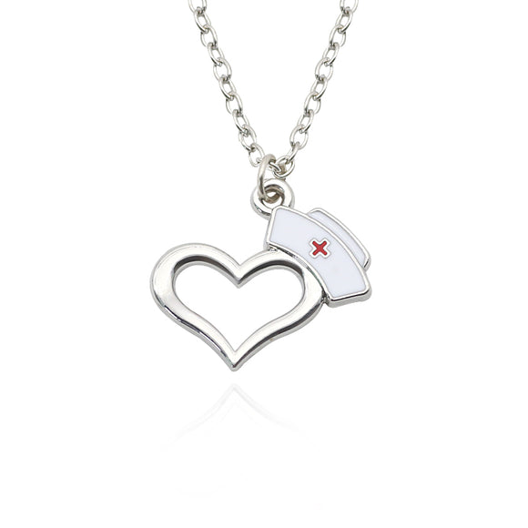 Stainless Steel Nursing Heart Pendants Charm Necklace