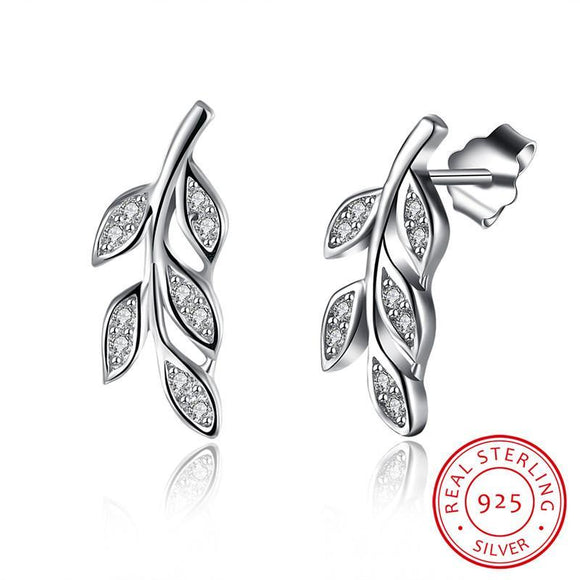 Sterling Silver & Cubic Zirconia Leaf Stud Earrings
