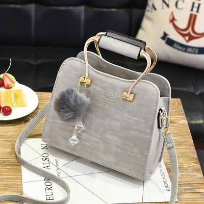 Elegant Furrball Metal Handle Cross-Body Handbag - 8 Colors