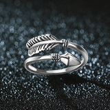 Sterling Silver Loop Feathered Arrow Ring