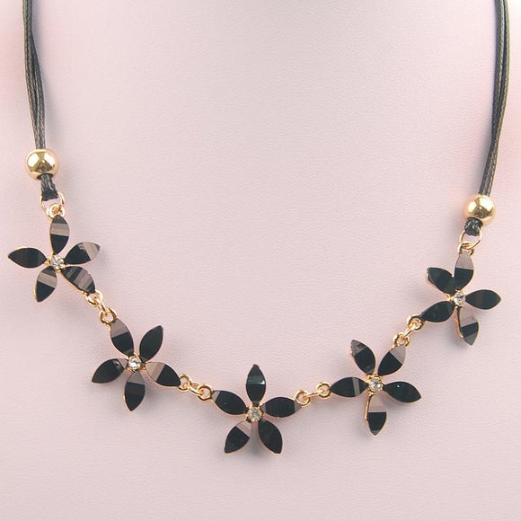 Luxury Flower Gem Statement Choker Necklace