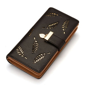Hollow Leaves Leather Wallet Clutch - 5 Colors
