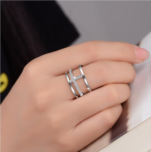 Sterling Silver Multi-layer Cross Ring