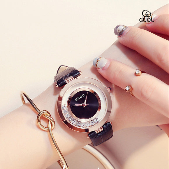 Stylish Glitter Diamond Wrist Watch - 5 Colors