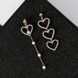 Tassel Crystal Love Heart Earrings - 2 Colors