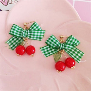 Sweet Cherry Picnic Bowknot Stud Earrings - 3 Colors