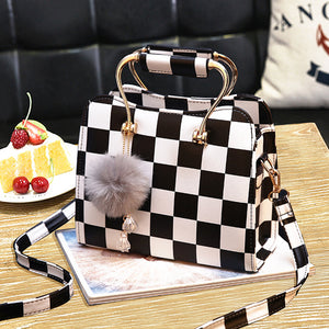 Black&white Plaid Design Leather Handbag
