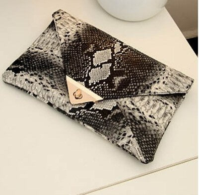 Faux Snake Skin Leather Envelope Clutch Purse