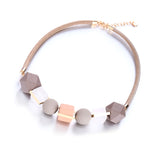 Geometric Wooden Bead Statement Choker Necklace