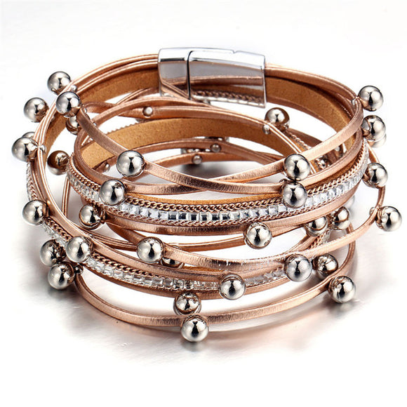 Multilayer Vintage Leather Charm Bracelet - 3 Colors