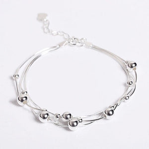 925 Sterling Silver Multilayer Beaded Chain Bracelets