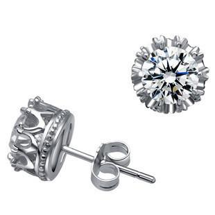 Sterling Silver Crown Stud Earrings - 2 colors