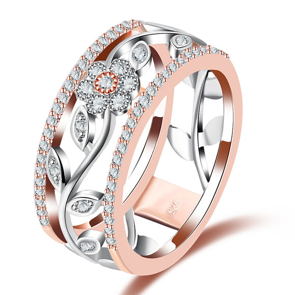 Silver Plated Rose Gold Floral Ring