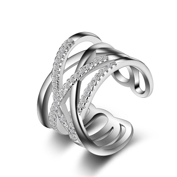 Criss-Cross Sterling Silver Adjustable Ring
