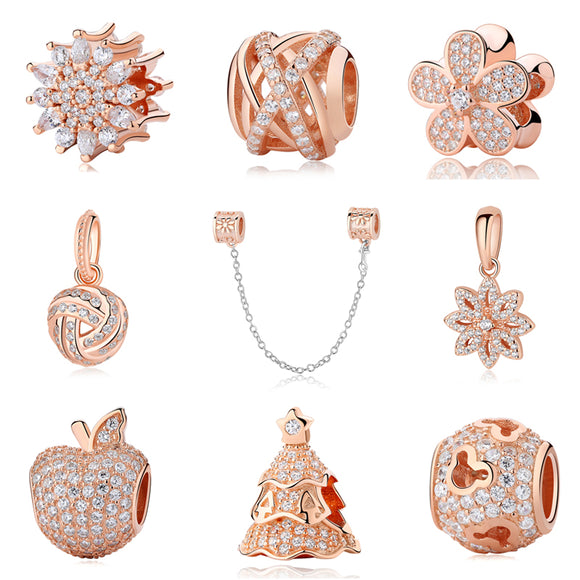 Sterling Silver Charm Bead Rose Gold Clip Charms