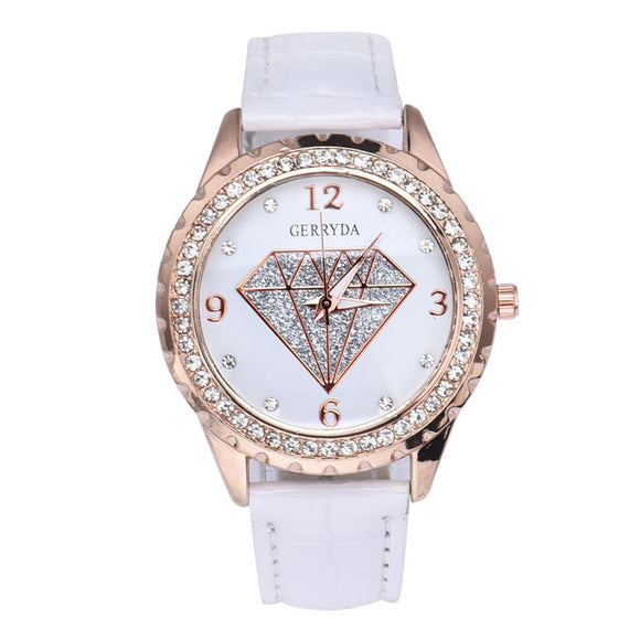 Leather Strap Diamond Queen Wristwatch - 4 Colors
