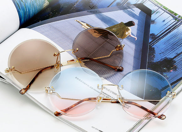 Circular Rimless Oversized Sunglasses - 8 Colors