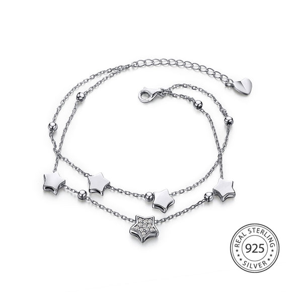 Two Layer Sterling Silver Star Bracelet