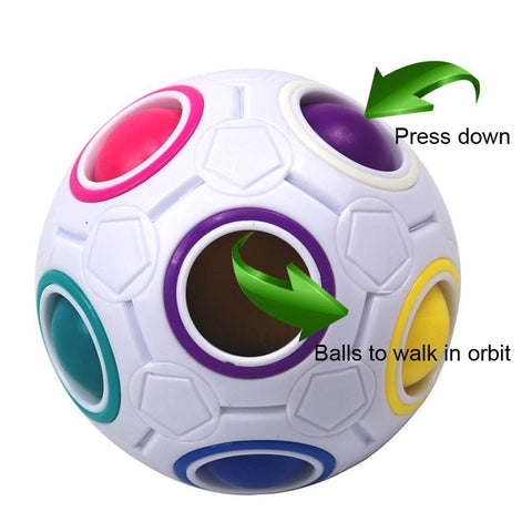 Bememo 4 Pack Magic Rainbow Ball Puzzle Speed Cube Ball Toy Brain Teaser with 11 Rainbow Colors