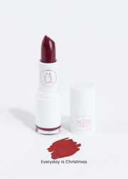 moisturizing lipstick in shade Everyday is Christmas (carmine red)