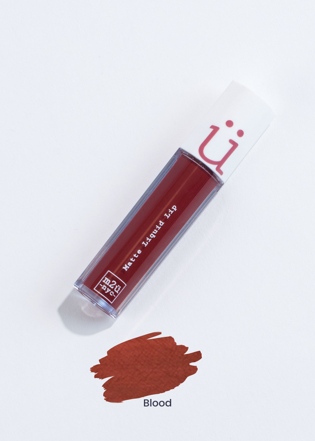 matte liquid lip in shade Blood (red)