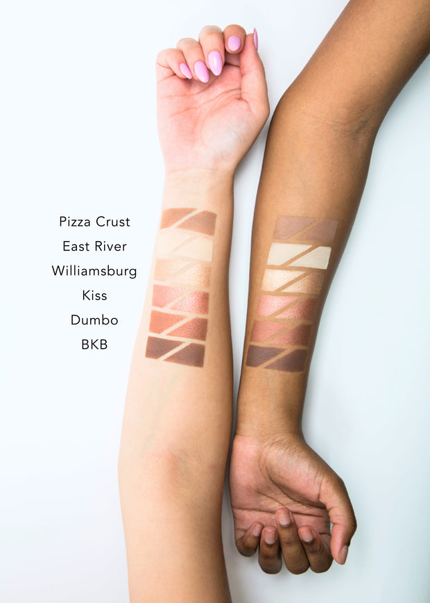 color swatches of the six shade eyeshadow palette-BKB, from light to dark