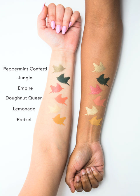 unicorn-shaped color swatches of the six shade eyeshadow palette-concrete jungle, from light to dark