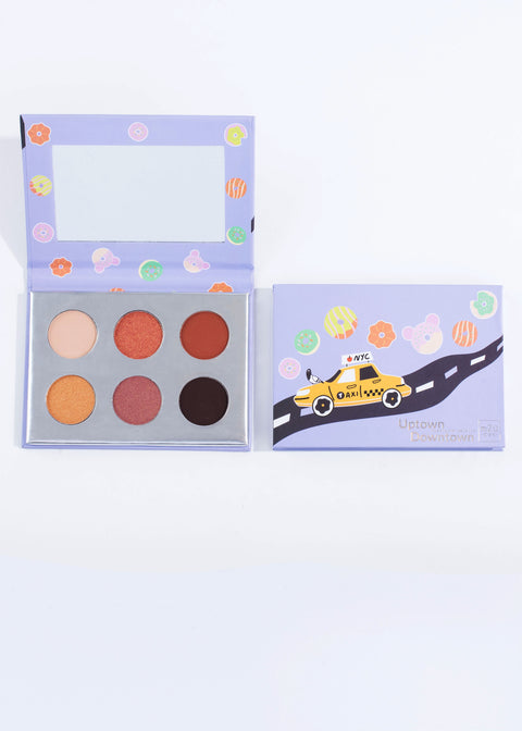 two of the same warm neutral six shade eyeshadow palette-uptown downtown, one open one closed