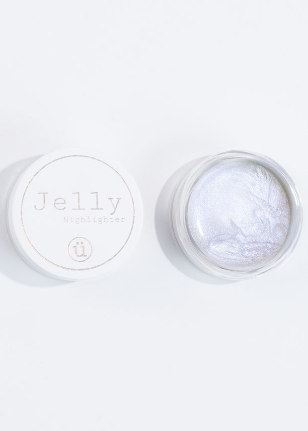 an open jar of the iridescent jelly highlighter, vegan and cruelty free