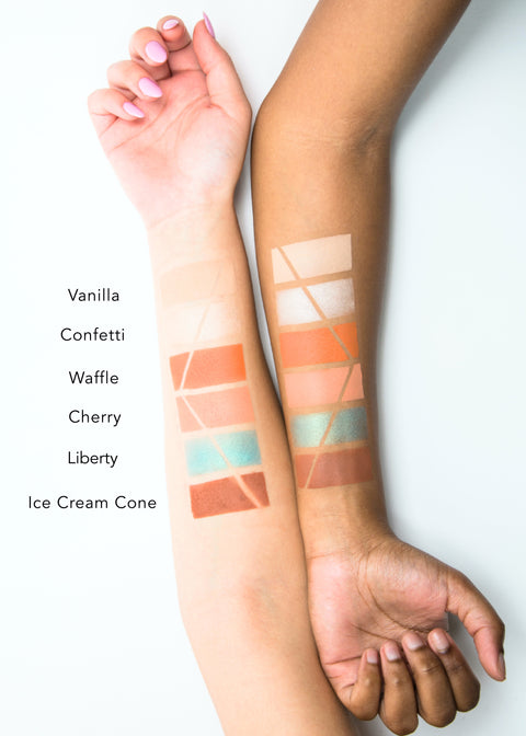 eyeshadow palette arm swatches