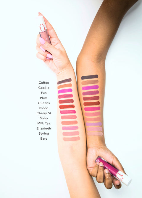 color swatches of matte liquid lips in twelve shades from dark to light