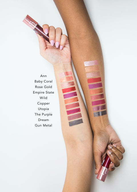 color swatches of metallic liquid lip in ten shades from light to dark