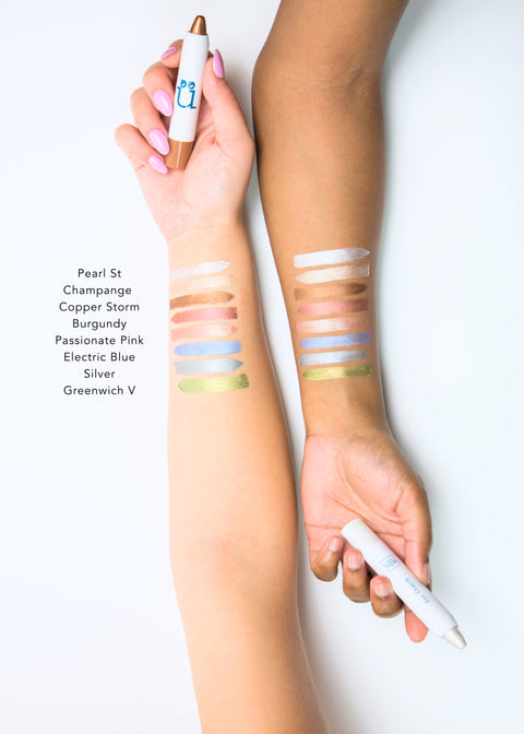 color swatches of eight colorful eye crayons, from pearl st to greenwich v