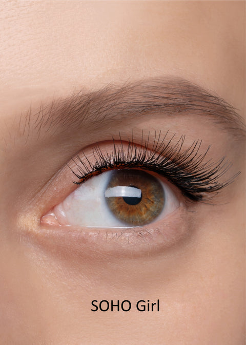 closeup eye photo with fake eyelashes on, full volume style