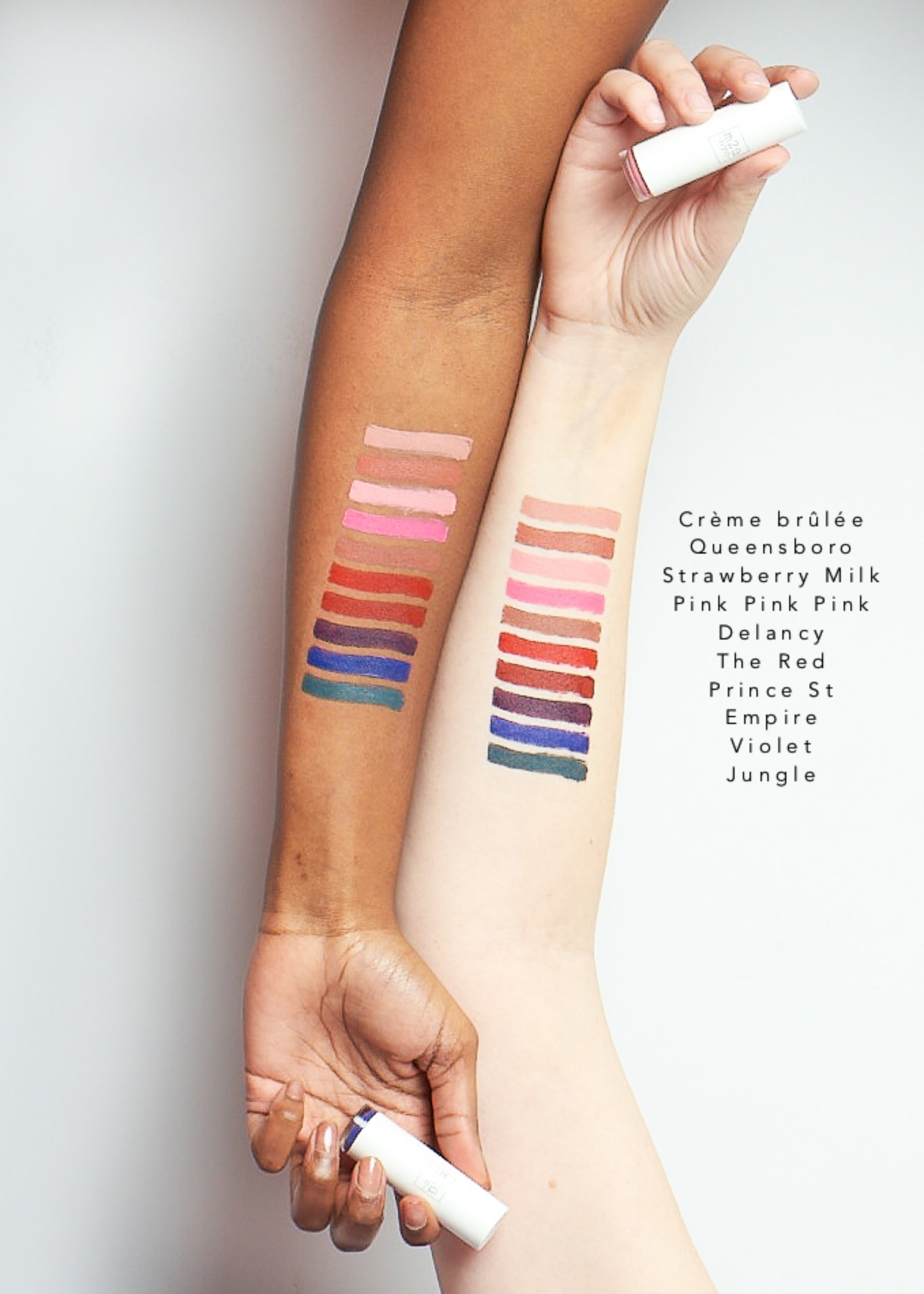 color swatches of matte lipsticks in ten shades from light to dark