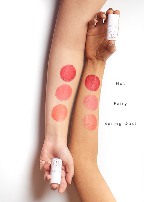 color swatches of cream blush sticks in three shades, from hot to spring dust