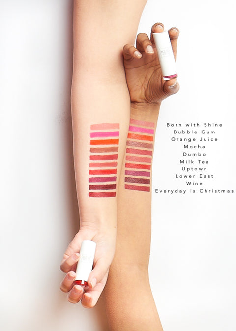 color swatches of moisturizing lipstick in ten shades from light to dark