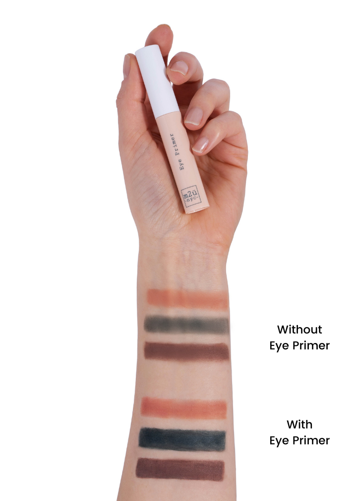 eye primer arm swatches showing eyeshadows with and without eye primer