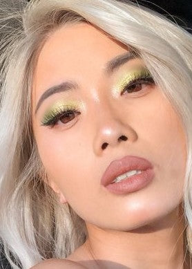 Asian model with green eyeshadows