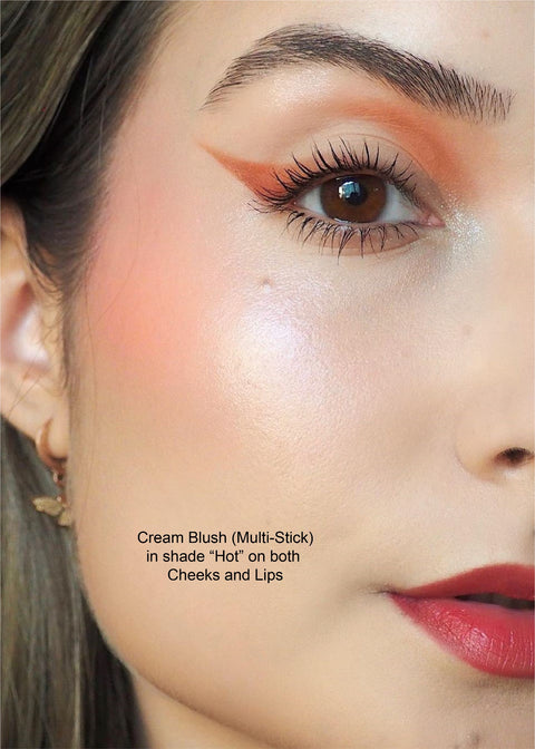 cream blush on cheek and lip