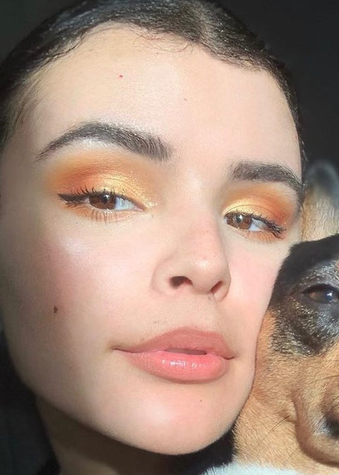 model with red orange yellow eyeshadows