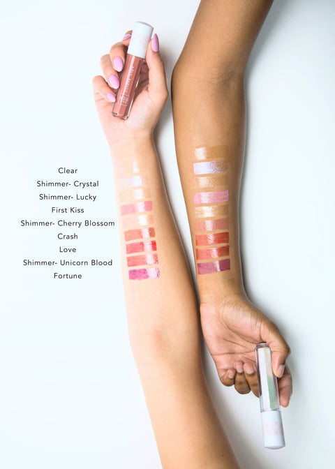 color swatches of lip gloss in nine shades