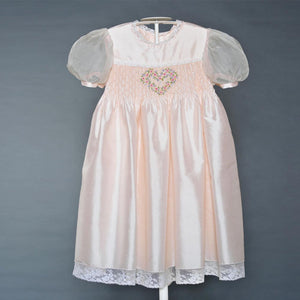 Girl's Pink Silk Party Dress