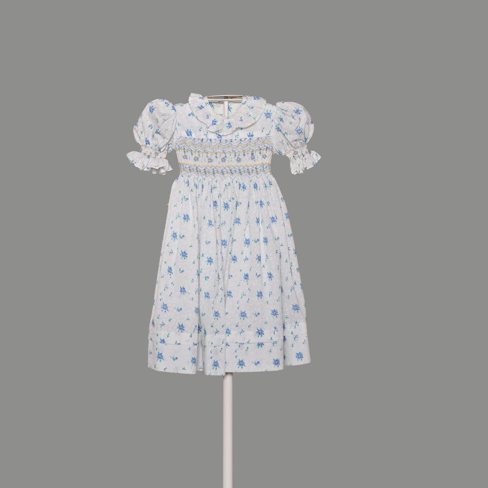 Girl's Blue and White Dress