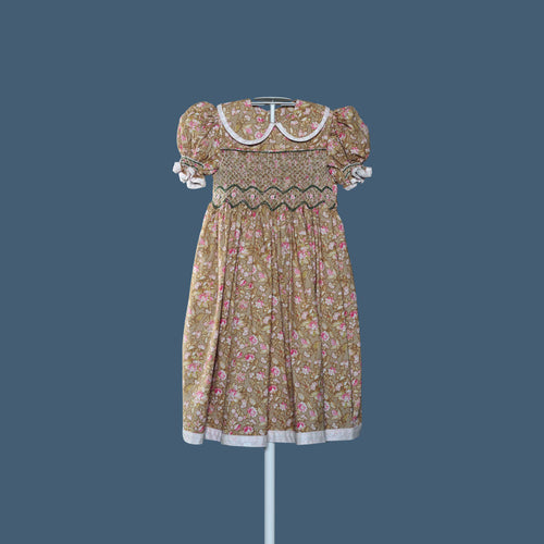 Girl's Brown Flowered Dress
