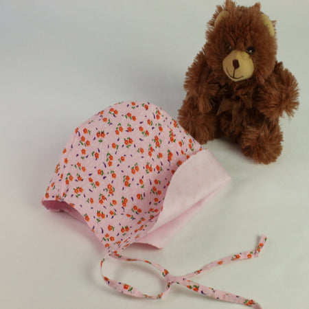 Pink and orange cotton floral baby bonnet